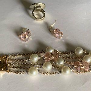 Chico's Set Pink & pearl bracelet, ring, earrings
